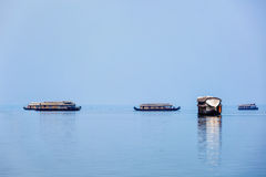 Houseboats in lake. Kerala, India Stock Photo