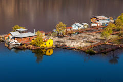 Houseboats in the lake. Vacha Dam,Bulgaria.excellent choice for holiday destination. The area is suitable for nature walks and picnic on the lake and for avid Royalty Free Stock Image