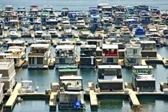 Houseboats in Marina Stock Image