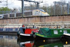 Houseboats moored in St Pancras Basin, Regent's Canal Royalty Free Stock Image