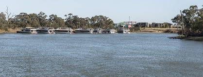 Houseboats, Murray River, Mildura, Australia. Leisure houseboats moored on the banks of the Murray River near the marina, Mildura, Australia Stock Image