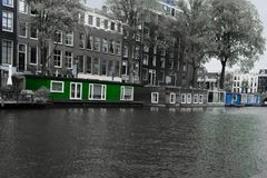 Houseboats in the nieuwe prinsengracht amsterdam stock photo