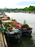 Houseboats in Paris Stock Photography