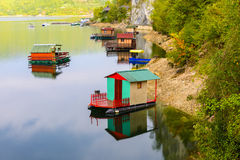 Houseboats of Perucac lake (Serbia) Royalty Free Stock Photography