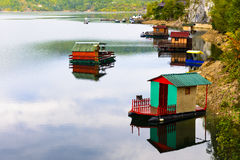 Houseboats of Perucac lake (Serbia) Stock Image