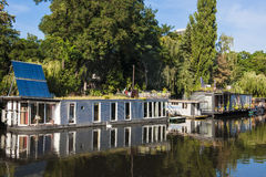 Houseboats on River Spree in Berlin Royalty Free Stock Images