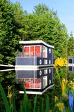 Houseboats in the row, Center Parcs stock images