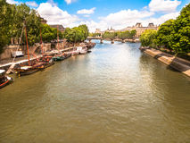 Houseboats on the Seine River Paris. France Royalty Free Stock Photography