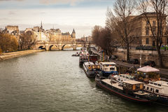 Houseboats on the Seine River. In Paris, France Stock Photography