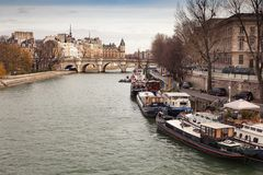 Houseboats on the Seine River Paris France Stock Images