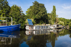 Houseboats on River Spree in Berlin Stock Images