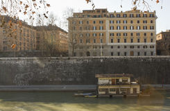 Houseboats on Tiber River in Rome Stock Images