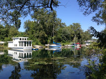 Houseboats Toronto Island. Houseboats and private yachts moored in the quiet lagoons of Toronto Island Stock Photos