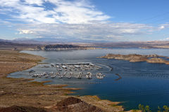 Houseboats and tourist boats on lake Powell, Colorado River, USA Royalty Free Stock Images