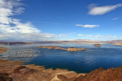 Houseboats and tourist boats on lake Powell, Colorado River, USA Royalty Free Stock Photo