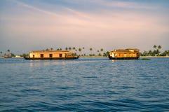 Houseboats w Alleppey zdjęcie royalty free