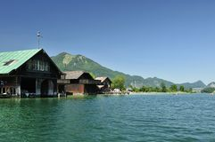 Houseboats on Wolfgangsee Royalty Free Stock Photo