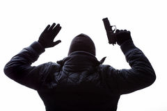 Gangster putting his hands up Stock Photography