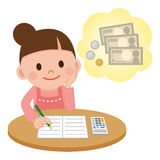 Household account book and a housewife. Vector illustration.Original paintings and drawing Stock Photography