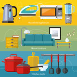 Household Appliance, Furniture, Cooking Serve Meal. Cooking tools and kitchenware equipment, serve meals and food preparation elements. Business interior. Home Stock Images