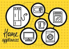 Household appliance for home and kitchen icon set. Icon set of home appliance with refrigerator, washing machine, gas stove, microwave, TV, electric kettle on Royalty Free Stock Photography