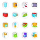 Household appliance icons set, cartoon style Stock Image
