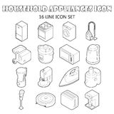 Household appliance icons set, outline style Royalty Free Stock Images