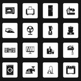 Household appliance icons set, simple style Royalty Free Stock Image