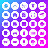 Household Appliance Solid Circle Icons. Vector Illustration of Glyphs over Blurred Background Stock Photo