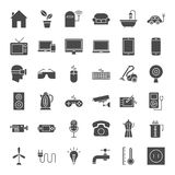 Household Appliance Solid Web Icons. Vector Set of Electronics and Gadget Glyphs Stock Image