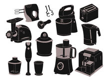 Household appliances. Icons ,black silhouettes, vector illustration Royalty Free Stock Images