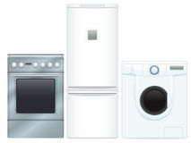 Household Appliances. A set of three high detailed items, contains kitchener, refrigirator and washer, all in same style. All key objects are grouped and well Stock Photography