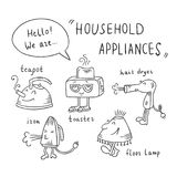 Household appliances cartoon vector characters. Funny home devices illustration in sketch style for for childish books, coloring and educational materials Stock Images