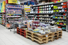 Household appliances department. MALMEDY, BELGIUM - JULY 2015: Interior, the Household appliances section of a Carrefour Hypermarket, a French multinational Royalty Free Stock Images