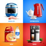 Household Appliances 2x2 Design Concept. Household kitchen appliances 2x2 design concept set of coffee machine mixer electric kettle crock pot realistic vector Royalty Free Stock Photography