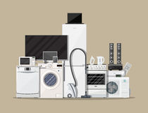 Household Appliances and Electronic Devices. On brown background. vector illustration in flat style vector illustration