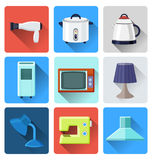 Household Appliances and Electronic. Devices flat icons Royalty Free Stock Photo