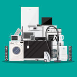 Household Appliances and Electronic Devices. On green background. vector illustration in flat style Royalty Free Stock Photography