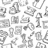 Household appliances and electronic devices icons. Hand drawn  stock illustration. Seamless background pattern. Black and white whiteboard drawing Stock Photo
