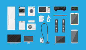 Household Appliances and Electronic Devices set. On blue background. vector illustration in flat style Royalty Free Stock Photography