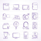 Household appliances and electronics icons. Vector, icon set royalty free illustration