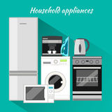 Household Appliances Flat Design. Household items, washing machine, kitchen appliances, equipment and kitchen, machine and stove, cooking domestic, microwave Stock Photos