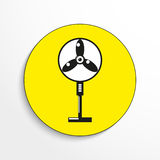 Household appliances. Floor fan. Vector icon. Black-and-white object on a yellow background. stock illustration
