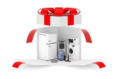 Household Appliances Gift. Household Appliances Set in Opened Surprise White Gift Box with Red Ribbon and Bow. 3d Rendering. Household Appliances Gift. Household royalty free stock image