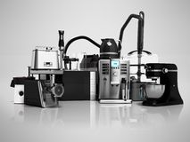 Household appliances Group of vacuum cleaners microwave coffee m royalty free illustration