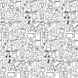 Household appliances hand drawn seamless pattern Royalty Free Stock Photo