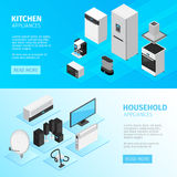 Household Appliances Horizontal Banners Royalty Free Stock Photo