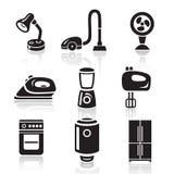 Household appliances icon set. Black sign on white background Royalty Free Stock Photography