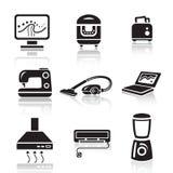 Household appliances icon set. Black sign on white background Royalty Free Stock Photos