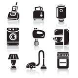 Household appliances icon set. Black sign on white background Stock Photos
